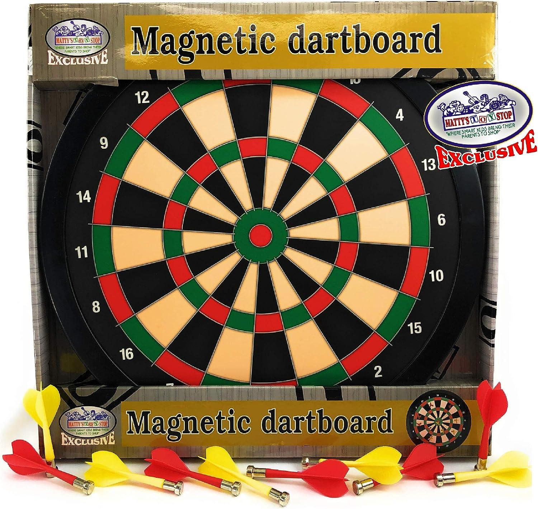 Mattys Toy Stop Deluxe Diana magnética (tablero de dardos de 15.5 pulgadas con 10 dardos en total (5 amarillo y 5 rojo): Amazon.es: Juguetes y juegos