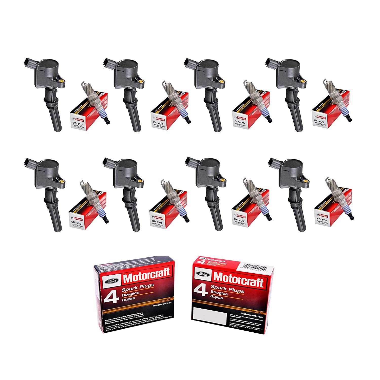 Set of 8 Aftermarket DG508 Ignition Coil & Motorcraft SP479 Platinum Spark Plug for Ford Crown Victoria Excursion Expedition Explorer F150 F250 F350 F450 ...