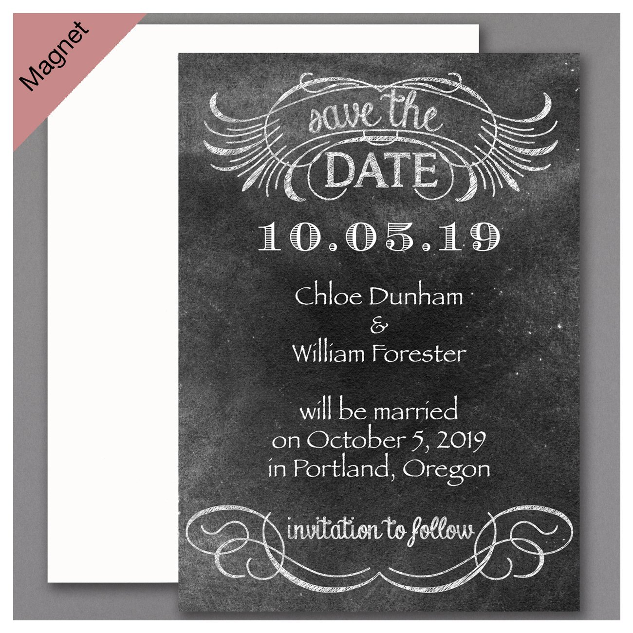 Personalized Carlson Craft Rustic Chalkboard Save the Date Magnet Wedding Quantity 150