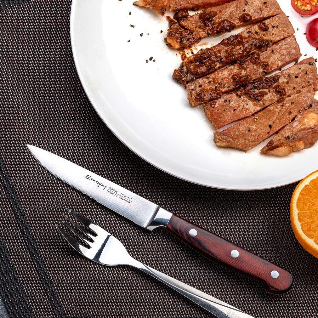 Emojoy Juego de 8 Cuchillos de Carne,Acero Inoxidable Cubiertos para Carne con Hoja en Ambos Lados y ergonómico Pakka Mango de Madera: Amazon.es: Hogar