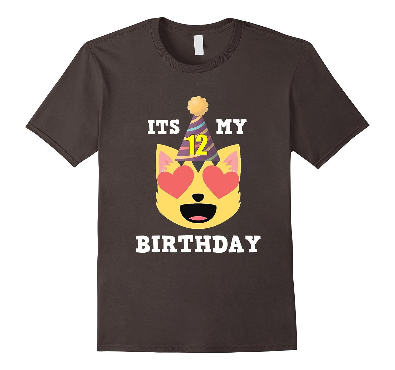 12th Birthday T-Shirt Heart Eyes Cat Emoji Birthday Shirt-TH