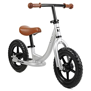 side facing silver retrospec cub balance bike