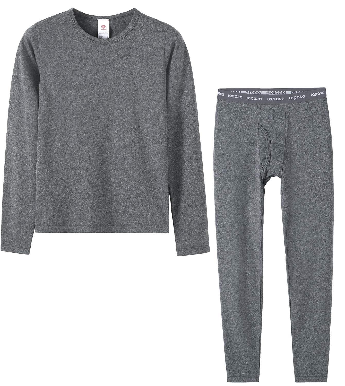 LAPASA Boys Thermal Underwear Long John Set Fleece Lined Base Layer Top and Bottom B03 (XS, Heather Dark Grey) by LAPASA