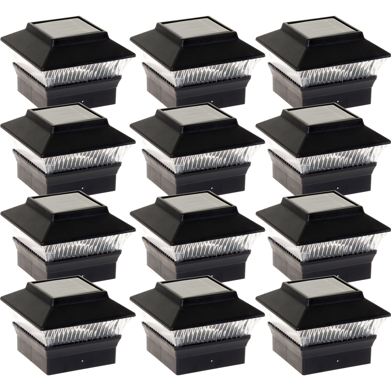 12 Pack Solar Power Square Outdoor Post Cap Lights for 4x4 PVC Posts (Black) by GreenLighting