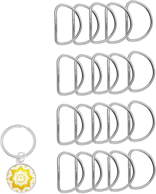 BronaGrand 50pcs 1 inch Metal D Rings Buckles for Straps Ties Belts Bags Black