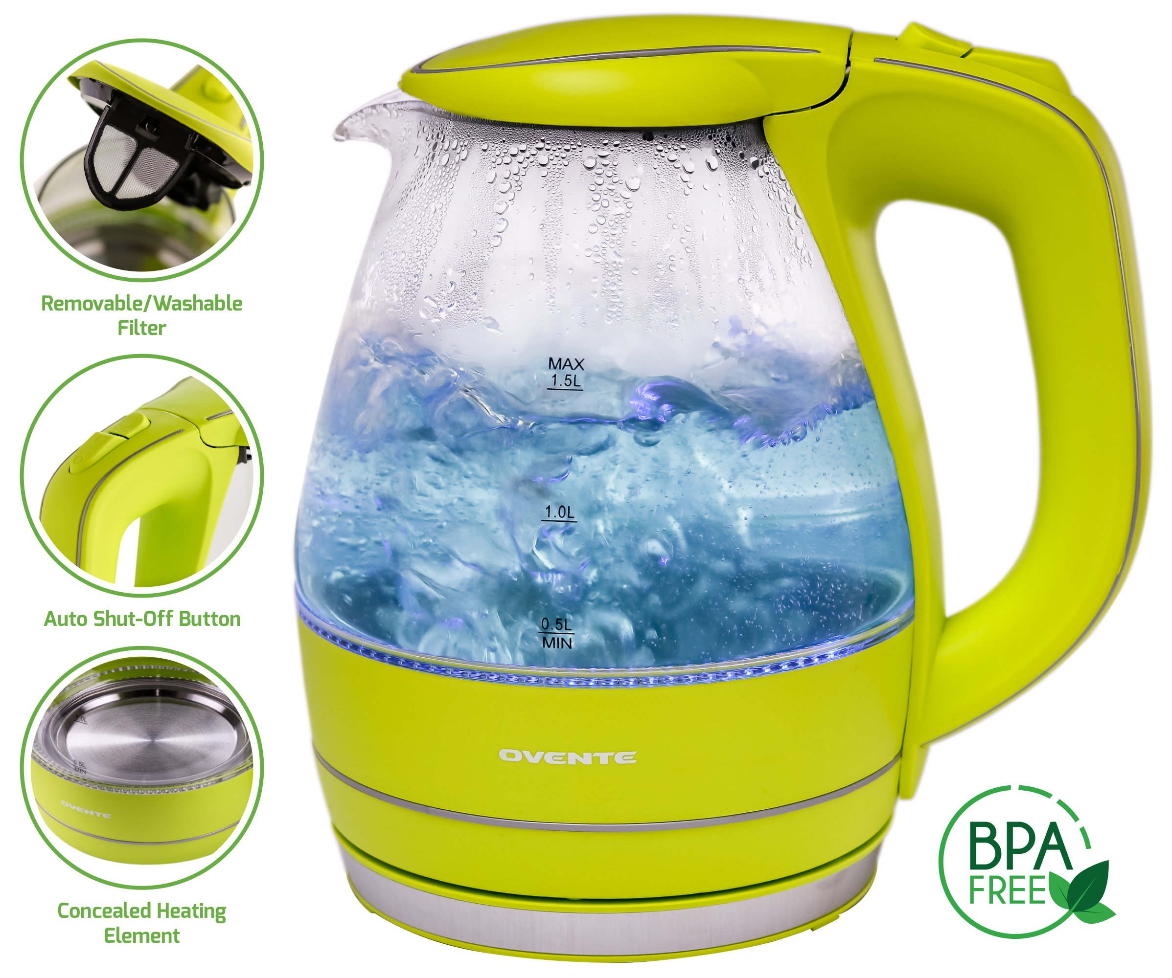Ovente 1.5L BPA-Free Glass Electric Kettle, Fast Heating with Auto Shut-Off and Boil-Dry Protection, Cordless, LED Light Indicator, Green (KG83G)