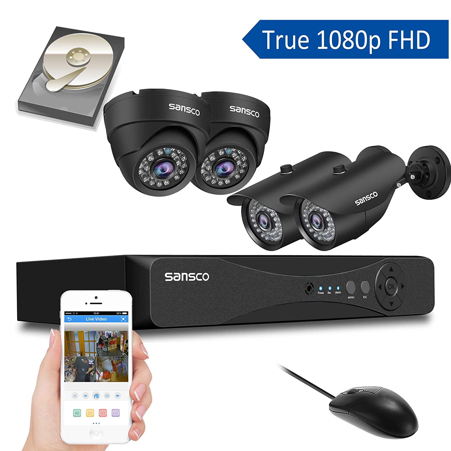 SANSCO CCTV Security Camera System with 1080P 4-Channel DVR, 2 Bullet 2 Dome Cameras All HD 1080p 2MP , and 1TB Internal Hard Drive Disk – All-in-One Home Surveillance Cameras Kit