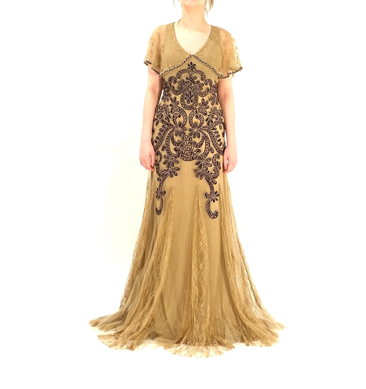 Amazon.com: Sue Wong Women\'s Sleeveless Lace Capelet Gatsby Dress 6 ...