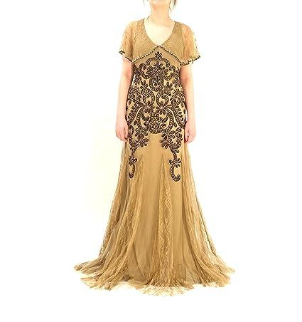 b14bb402ba80c Amazon.com  Sue Wong Women s Sleeveless Lace Capelet Gatsby Dress 6 Taupe  Black  Clothing