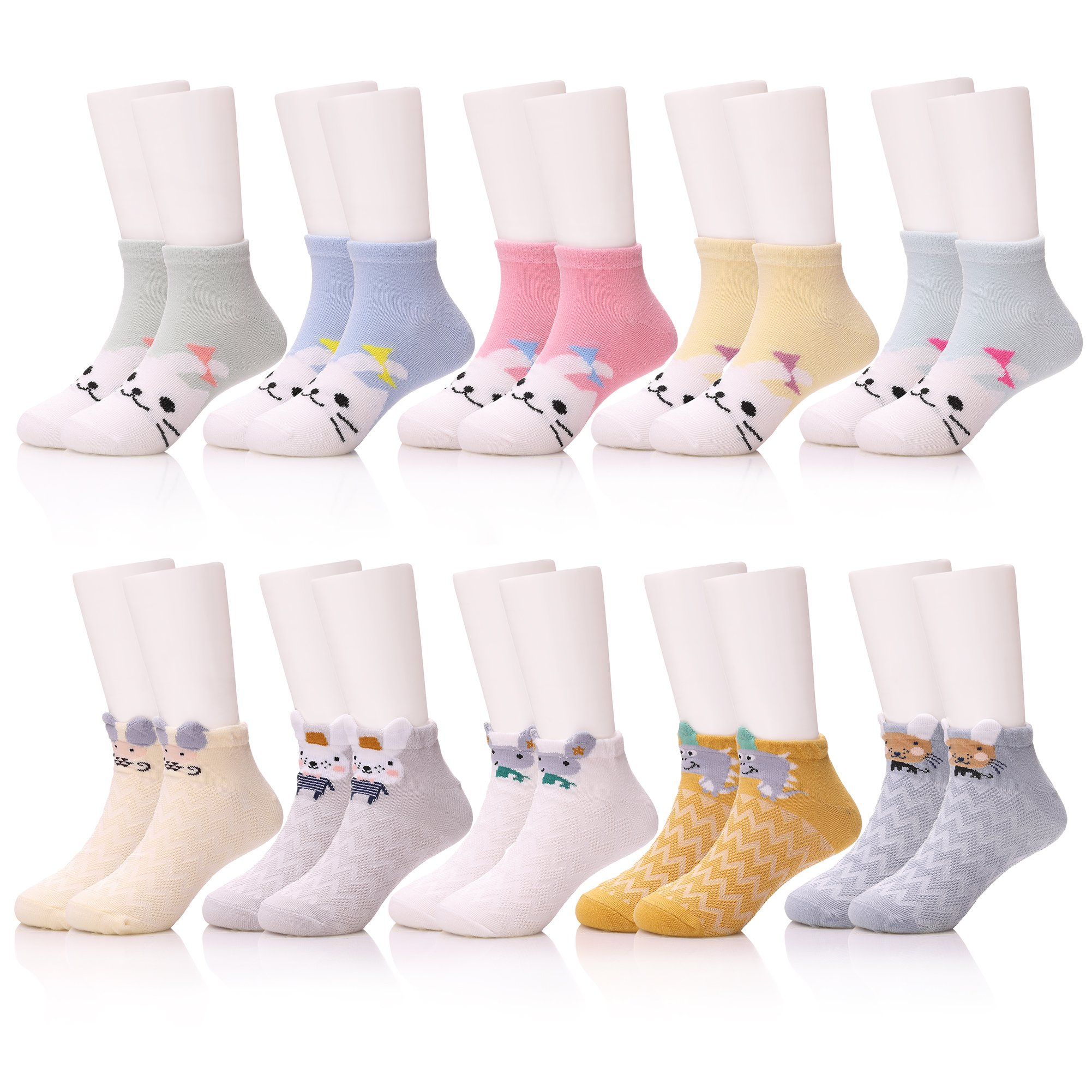 KAKAYAO 10 Pairs Baby Kids Girls Boys Toddler Socks Soft Breathable Cute Cotton Socks(Cartoon 2, XL(8-12 Year))