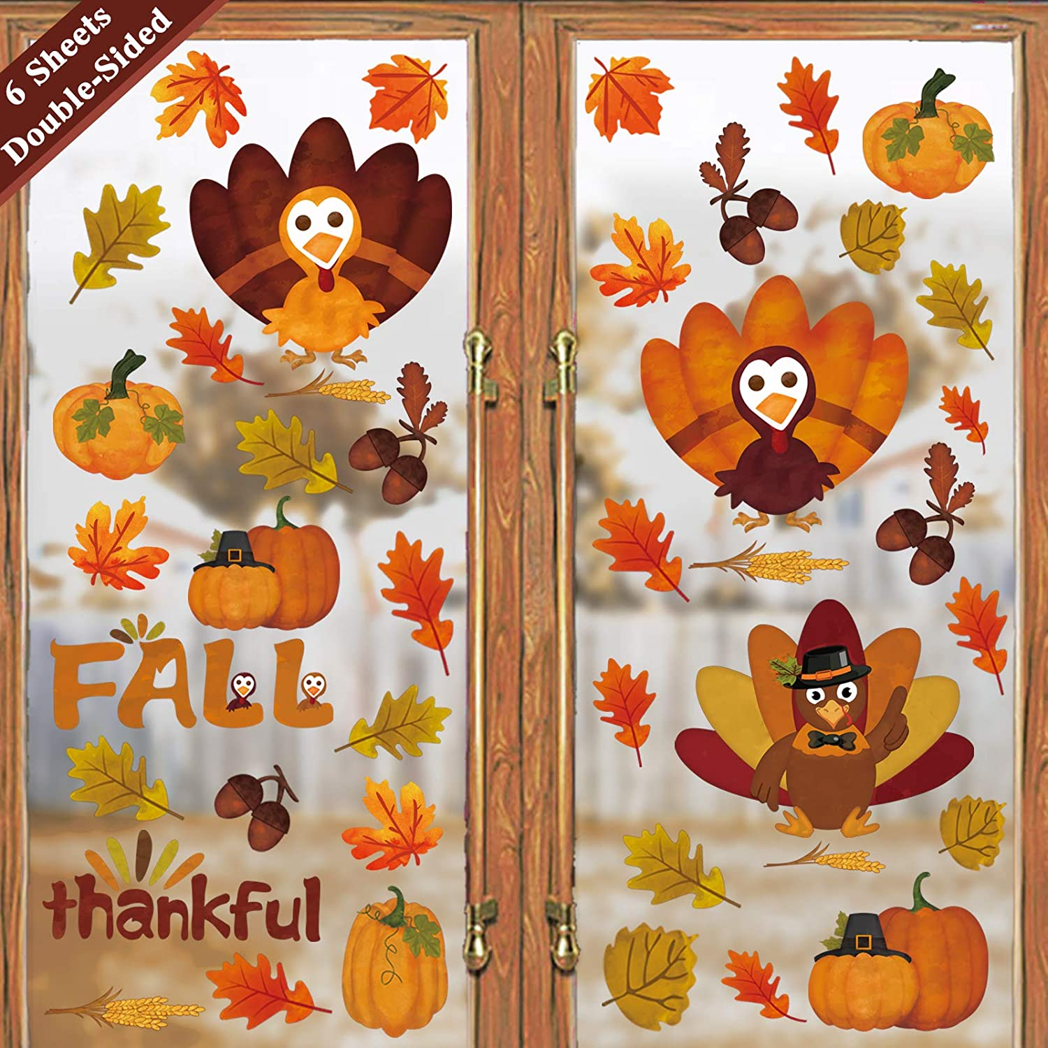 Ivenf Thanksgiving Decorations Window Clings Decor, Extra Large Autumn Fall Leaves Turkey Pumpkin Decal, Kids School Home Office Party Supplies Gifts, 6 Sheet 80 pcs