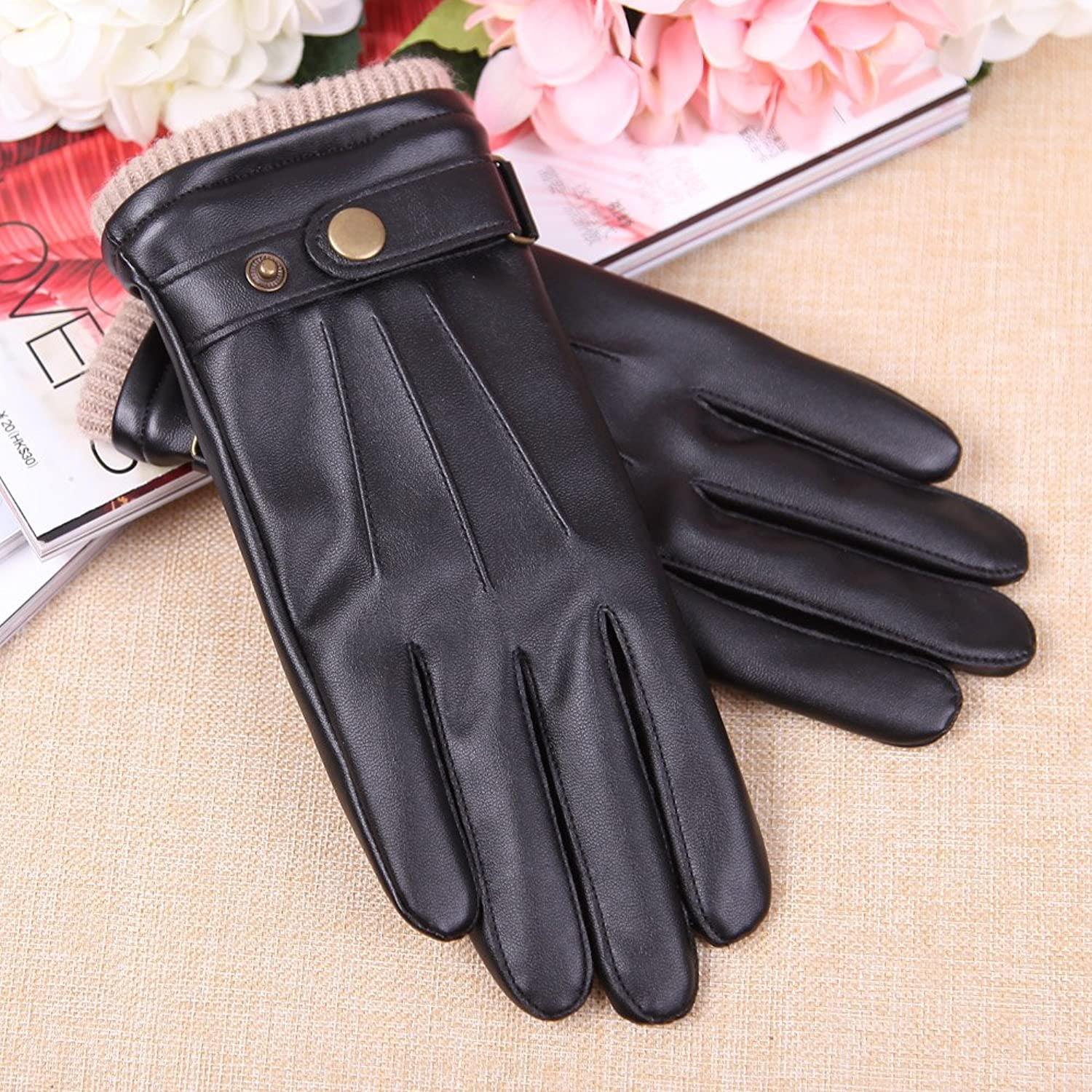 Fake leather driving gloves - Mens Touchscreen Texting Winter Pu Leather Gloves Driving Outdoor Long Fleece Lining 8 Black At Amazon Men S Clothing Store