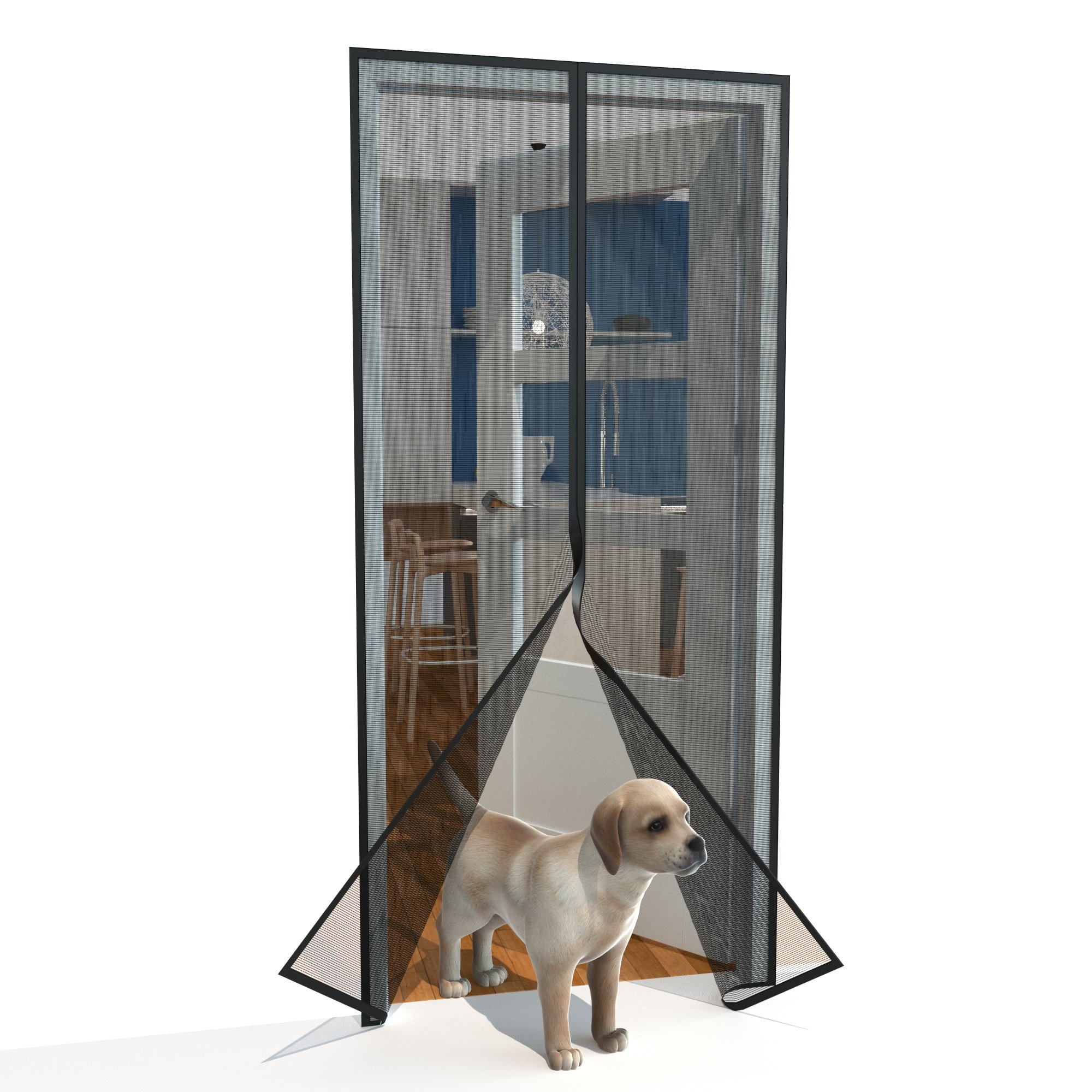 Home Diamonds Ultra Heavy Duty Fiberglass Magnetic Mesh Screen Door Full Frame Velcro, 28 Strong Magnets, Fit Doors up to 34 x 81-inches by Home Diamonds (Image #6)