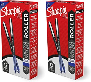 Sharpie Rollerball Pens 0.5 mm Blue Ink 12 Pack Needle Point