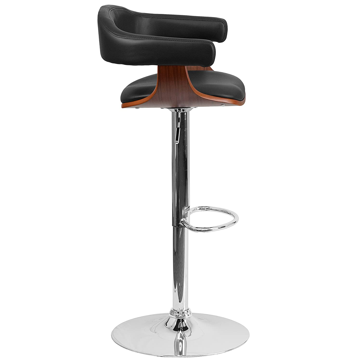 Flash Furniture Walnut Bentwood Adjustable Height Barstool with Black Vinyl Seat SD-2178-2-WAL-GG