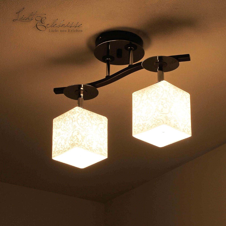 Moderne Deckenleuchte in Chrom Dunkel 4x E27 bis zu 60 Watt 230V aus Glas /& Metall K/üche Esszimmer Lampen Leuchte Beleuchtung innen