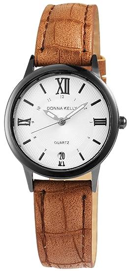 Reloj mujer Blanco Marrón Números Romanos Fecha Analógico Cuero Reloj de pulsera: Amazon.es: Relojes