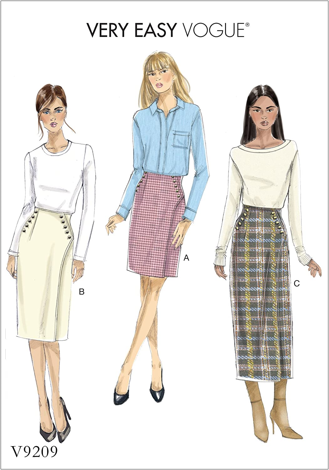 Sizes 14-22 Vogue Patterns Vogue V9349E5 Easy Womens Lined Wrap Skirt Sewing Patterns