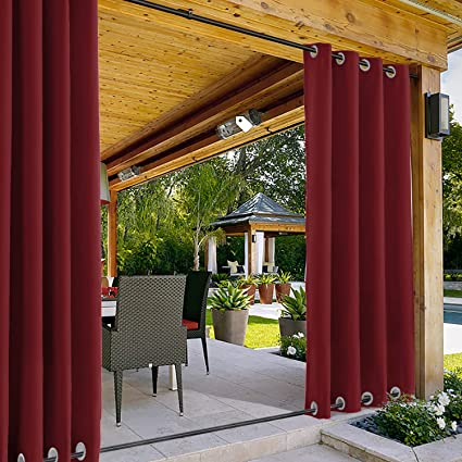 Cortina para Exteriores a Prueba de Viento con 0jal Superior Inferior Rojo 381 x 213CM, Impermeable Cortina Patio Cabana Porche Gazebo Panel de ...