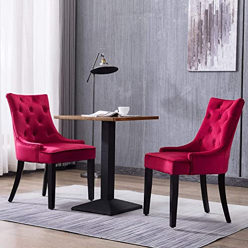Mecor Tufted Fabric Dining Chairs Set of 2,Leisure Velvet Padded Chairs with Nailhead Trim,Solid Wooden Legs, Red