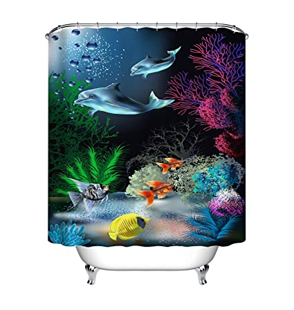 Beau Amazon.com: LB Under The Sea Shower Curtain,Colorful Fish And The Sea  Plants Funny Bathroom Decor,Waterproof Mildew Resistant Fabric 72x72 Inch  With Hooks: ...