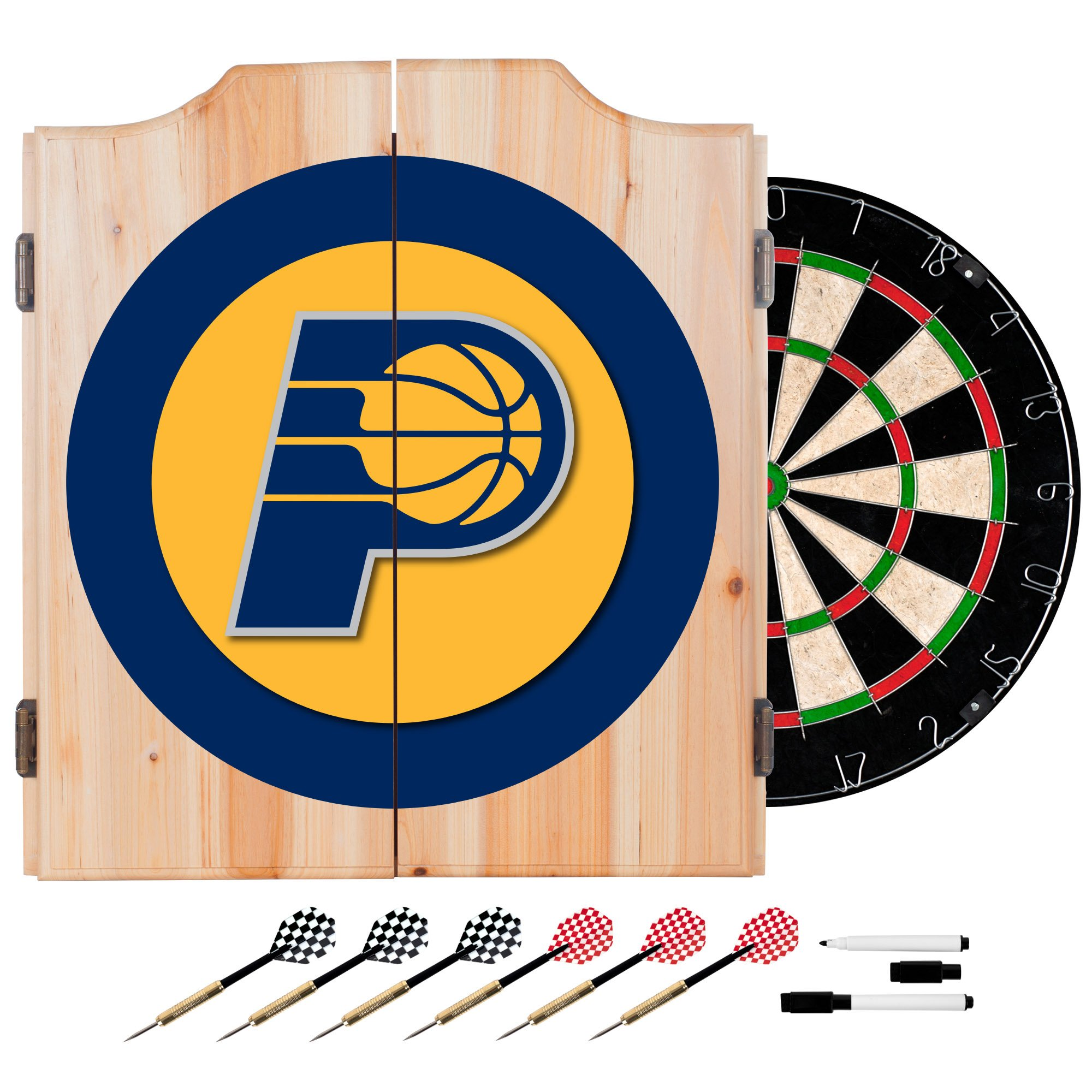 NBA Indiana Pacers Wood Dart Cabinet Set