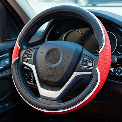 Microfiber Leather Car Steering Wheel Cover, Moon Shape Breathable Auto for Men Women Universal 15 Inch(Black and Red): Automotive