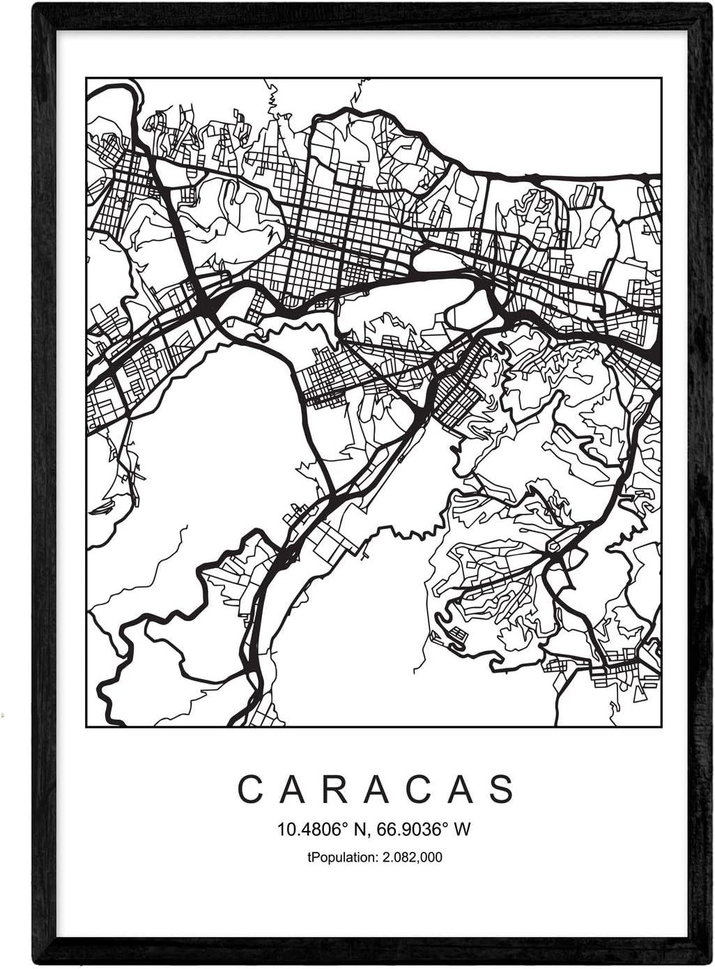 Nacnic Lámina Mapa de la Ciudad Caracas Estilo nordico en Blanco y Negro. Poster tamaño A3 Sin Marco Impreso Papel 250 gr. Cuadros, láminas y Posters para Salon y Dormitorio