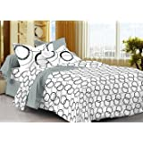Ahmedabad Cotton Comfort 160 TC Cotton Double Bedsheet with 2 Pillow Covers - White and Black