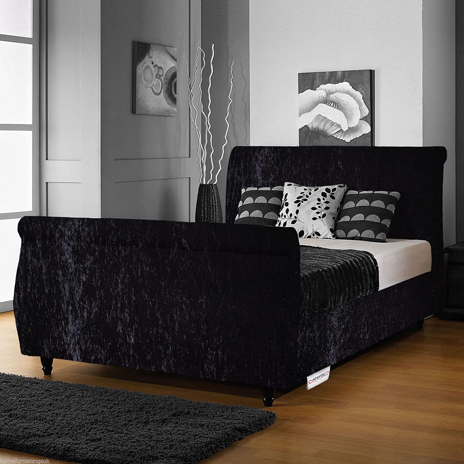 hf4you limcho crushed velvet sleigh bed frame 4ft6 double black orthopaedic sprung mattress amazoncouk kitchen u0026 home