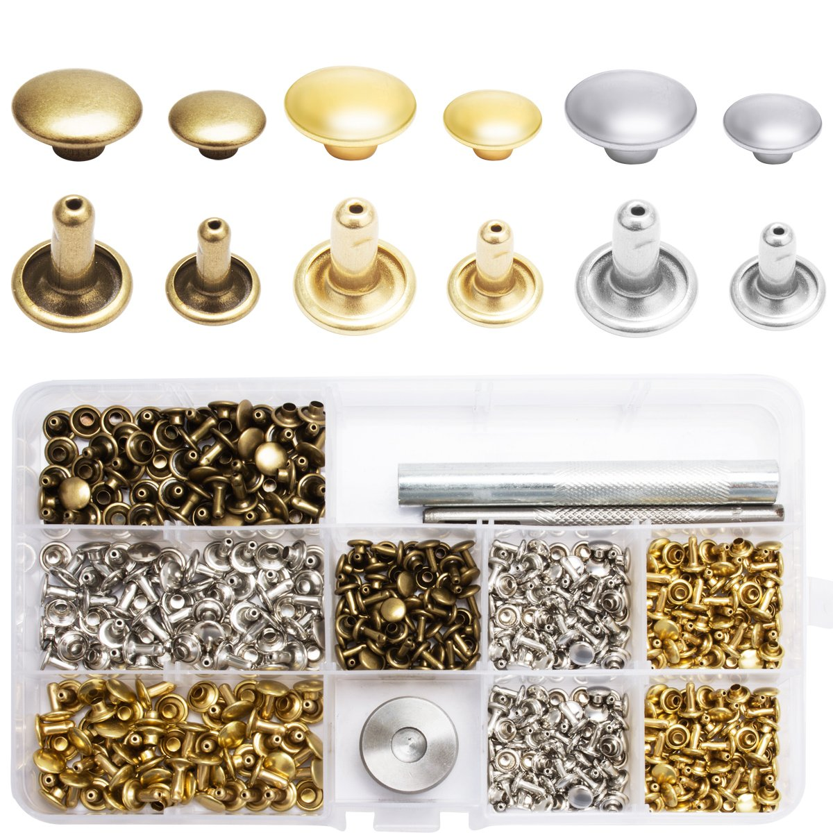 3 Colors and 2 Sizes 180 Set 2 Sizes Tubular Metal Studs with 3 Pieces Fixing Tool Rivets Replacement Cavetee Leather Rivets Double Cap Rivet Gold, Silver and Bronze DIY Leather Craft Tools