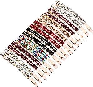 Pinzas de Cristal de Diamantes de Imitación Clip Pasador de Pelo de Diamantes de Imitación de Doble Fila Horquillas de Metal para Mujer Niña (Multicolor)
