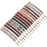 Rhinestone Crystal Bobby Pins Double Row Rhinestone Hair Barrette Clip Metal Hair Pins for Women Girls (Multi Color)
