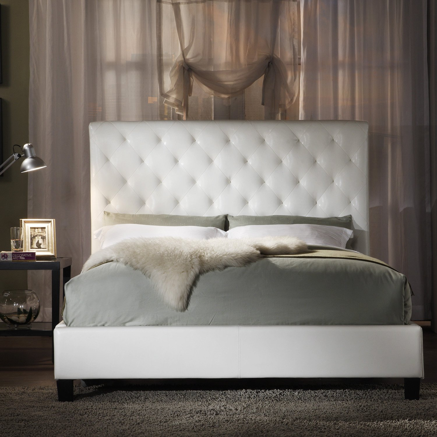 Design Tufted Bed amazon com metro shop tribecca home sophie white bonded leather tufted queen sized upholstered platform bed size tuf
