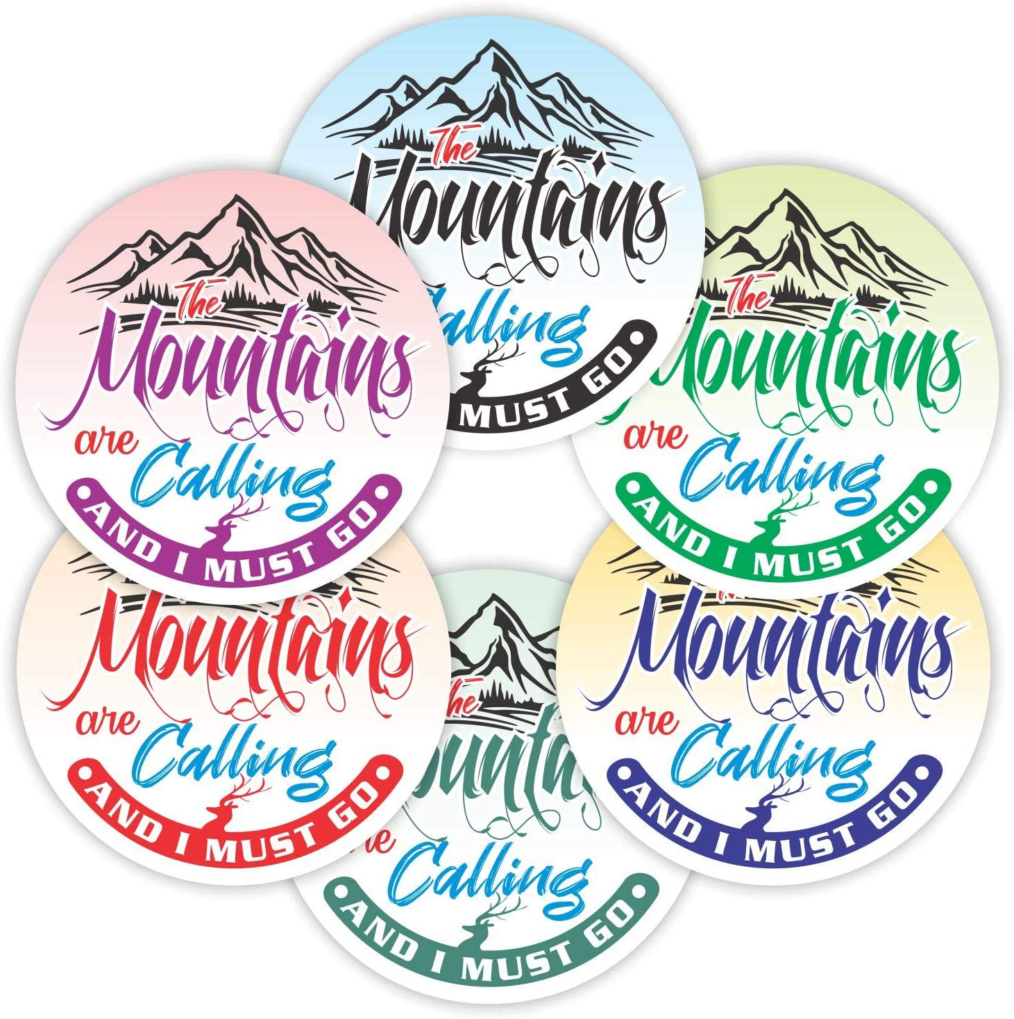 """The Mountains are Calling Sticker - (Pack of 12) 6"""" Large Round Laminated Vinyl Decals Sign Labels for Motorcycle Cars Trucks Bumper Laptop in 6 Color"""