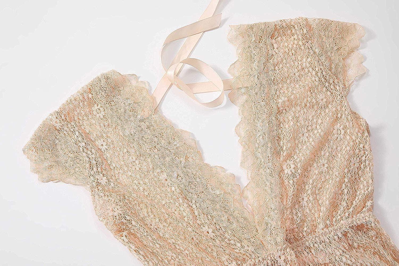 Evelife Womens V Neck Floral Lace Bodysuit Sheer Lingerie Set