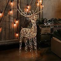 Deals on Alpine Corporation Outdoor Holiday Rattan Reindeer