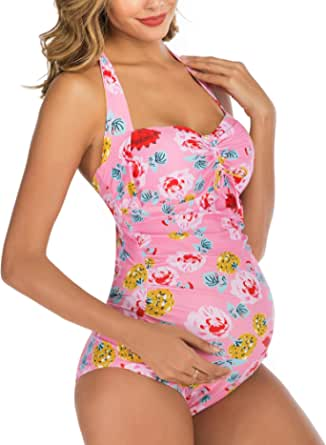 Maternity Swimwear One Piece Halter Pregnancy Swimsuit Solid Bathing Suit with Adjustable Chest Drawstring