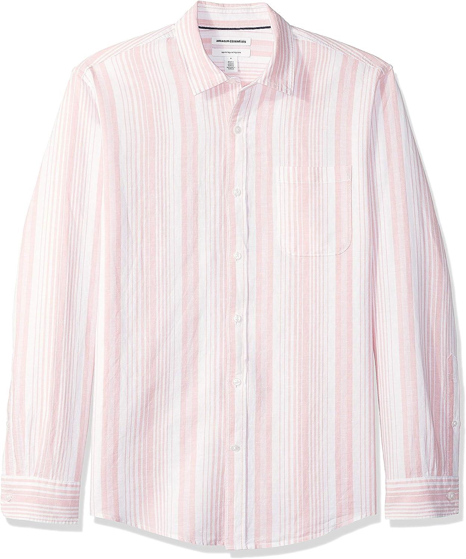 a quadretti Camicia da uomo a maniche lunghe in lino vestibilit/à standard Essentials