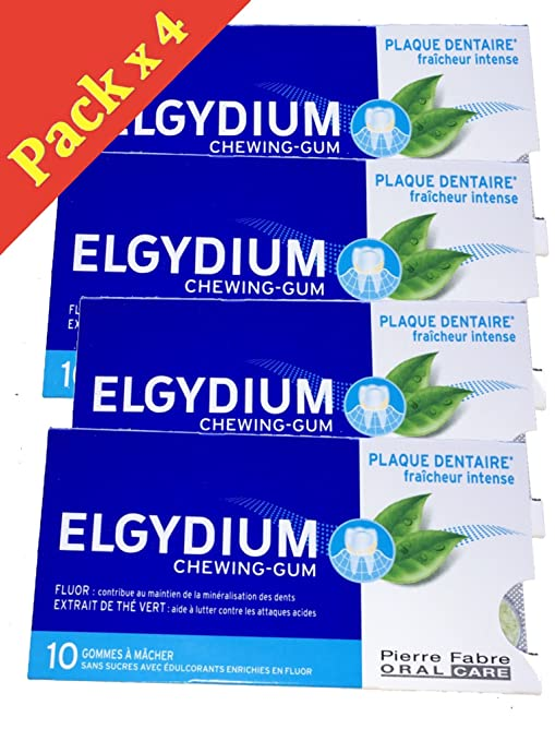 Elgydium chicle placa dental – Goma de mascar sin azúcar Fraîcheur Intense – Lote de 4