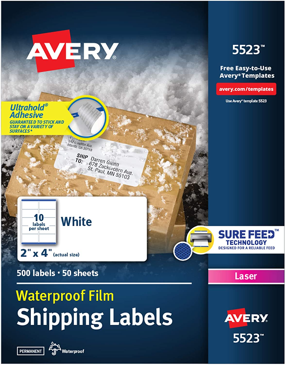 """Avery Waterproof Shipping Labels with Sure Feed & TrueBlock, 2"""" x 4"""", 500 White Labels (5523)"""