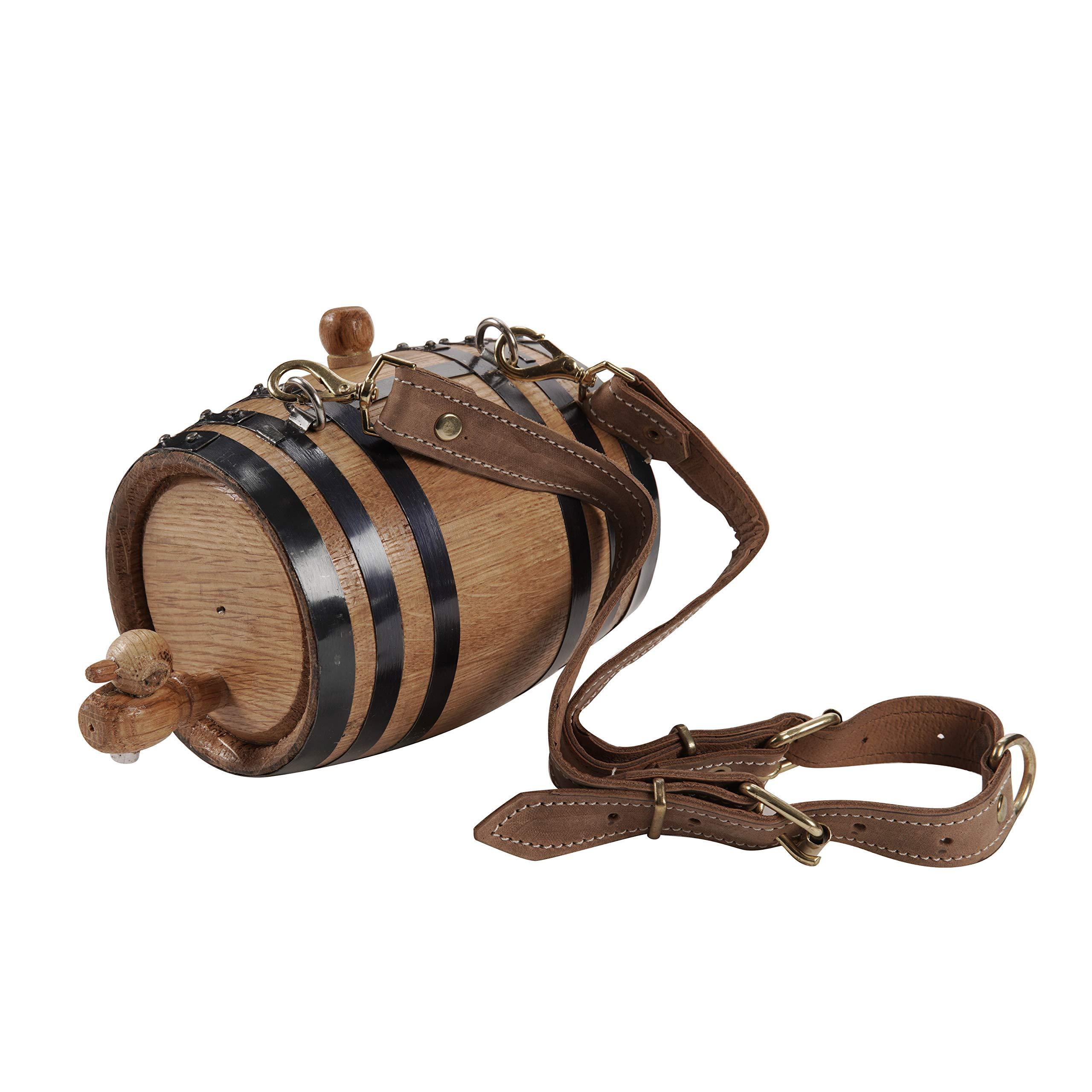 KegWorks St. Bernard Dog Collar Wood Rescue Barrel - Black Bands - 1/2 Liter Capacity by KegWorks