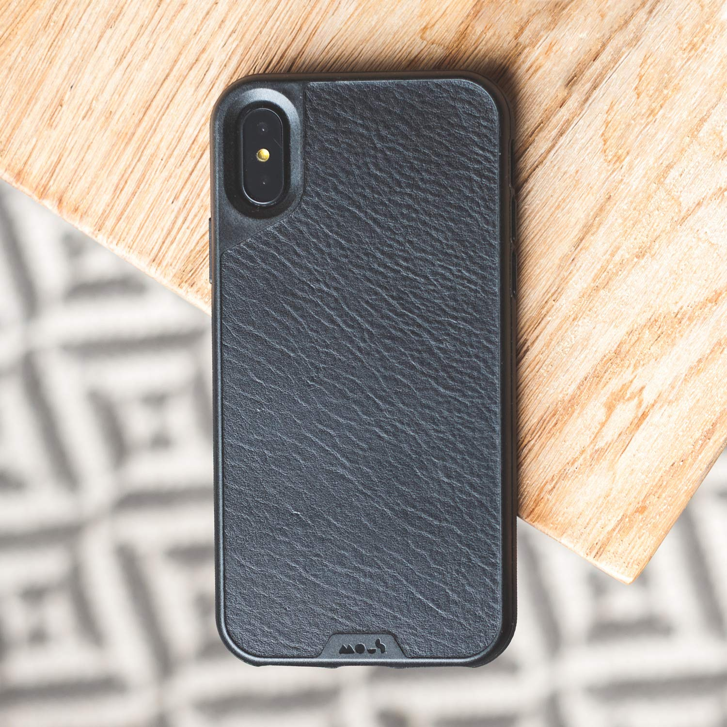 watch 87650 82f11 Mous Protective iPhone X/XS Case - Black Leather - Screen Protector Inc.