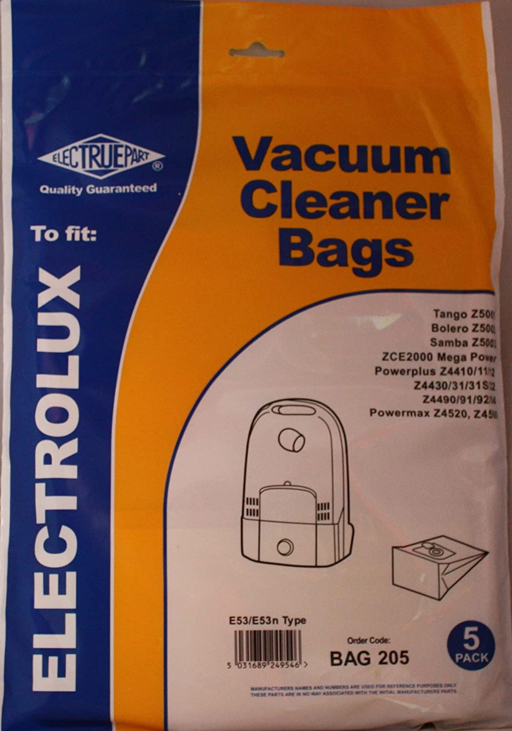 Electrolux Vacuum Cleaner Bags E53/E53n Type - 5 Pack