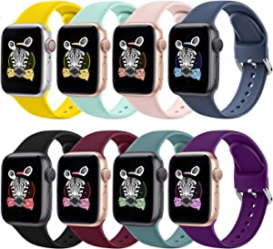 RATENLY Compatible with Apple Watch Bands 44mm 40mm 42mm 38mm, Sport Wristbands Replacement Strap with Apple Watch iWatch Series SE 6 5 4 3 2 1 for Women Men (38MM/40MM, Rafin)