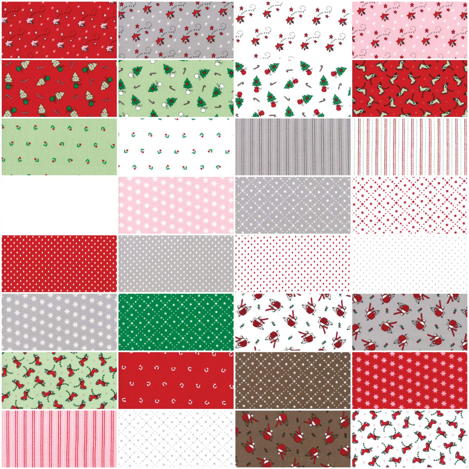 Merry Merry Snow Days Charm Pack by Bunny Hill Designs; 42-5 Inch Precut Fabric Quilt Squares