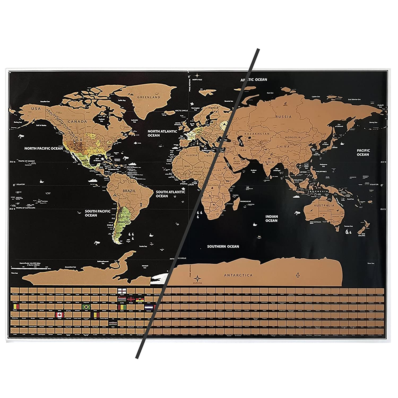 Weltkarte zum Rubbeln in Schwarz//Bronze mit edlem Look Rubbel-Weltkarte XXL Ma/ße 82,5 x 60,5 cm perfekte Geschenkidee f/ür sich oder die Liebsten