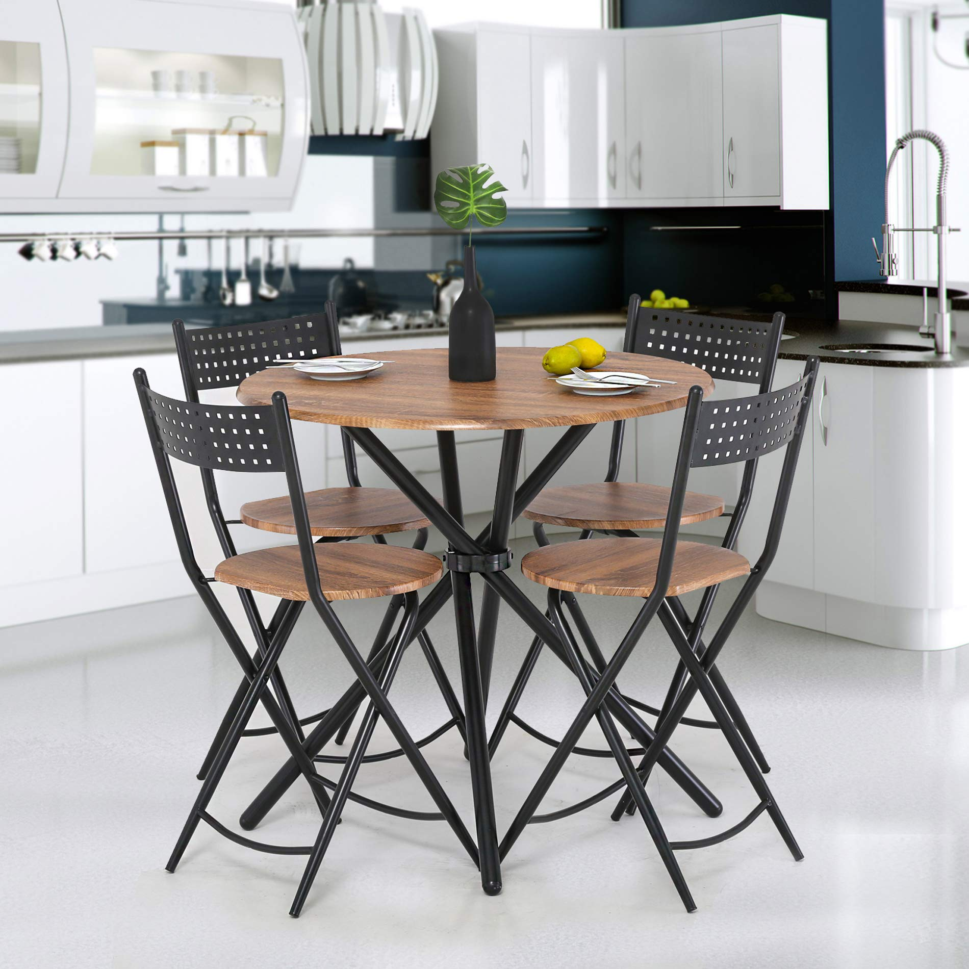 Homury 5pcs Dining Table Set Kitchen Table Kitchen Furniture Round Dining Table with 4 Round Dining Chair Dining Set Wood Coffee Table Set Home Office Table Set by Homury (Image #3)