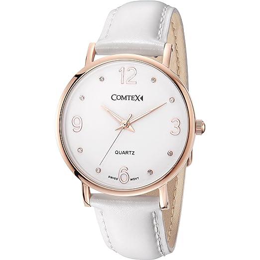 COMTEX de la mujer relojes oro rosa Swiss analógico de cuarzo pulsera de acero inoxidable con correa de piel color blanco reemplazar resistente al agua: ...