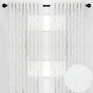 Chanasya 2-Panel Moroccan Embroidered Design Textured Sheer Curtain Panels - for Windows Living Room Bedroom Kitchen Office - Translucent Window Drapes for Home Decor - 52 x 63 Inches Long - White